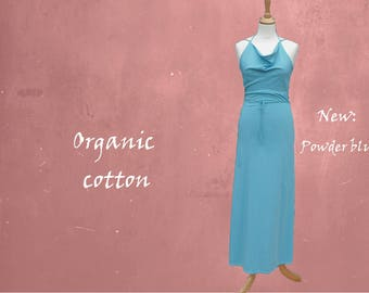 organic cotton maxi dress, long strapless dress biological cotton, summer dress GOTS certified