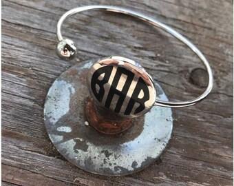 Monogram baracelet - personalized jewelry - monogram jewelry - ball wrap bracelet - silver bracelet - word bracelet