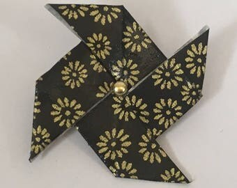 Origami windmill at golden flowers brooch