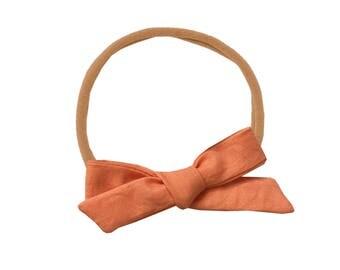 Schoolgirl Bow or Pigtail Set /// Papaya