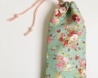 Handmade blue floral drawstring glasses / sunglasses case