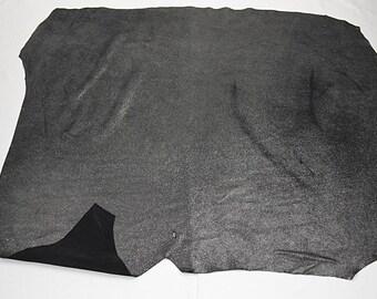 Coupon de cuir de veau nubuck noir argenté pailleté
