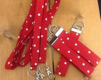 Disney Inspired Minnie Red Polka Dot Lanyard Key Fob