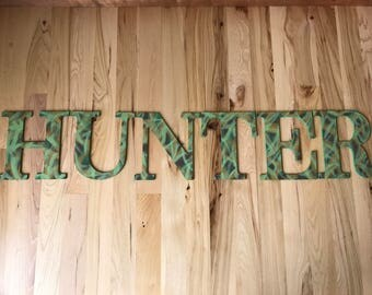 Custom, hand painted camouflage wood name sign; camo nursery letters