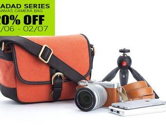 Personalized canvas camera bag : Amadad orange messenger bag style for mirrorless camera fuji sony canon nikon leica