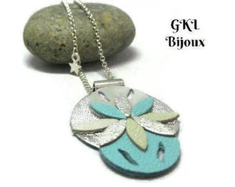 Long necklace, leather leaf-shaped flower, circles, metal mesh chain jaseron steel star charms