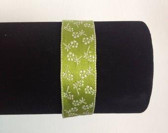 Cotton pattern bracelet green flower