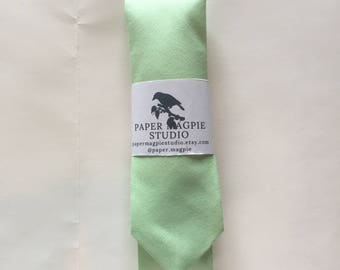 BODILY // Handmade skinny cotton necktie by Paper Magpie Studio // mint solid