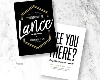 Modern Surprise Birthday Invitations