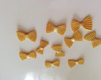 Lots of 10 bow tie yellow 3 cm x 18 mm approx