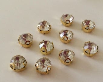10 Golden Crystal rhinestone 8 mm sewing