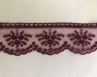 Ribbon lace 5.5 cm approximately purple tulle