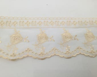 Embroidery lace anglaise 9.5 cm wide yellow and white