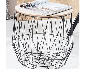 Storage small side tables black or white, wire basket, storage space for pillows, books, magazines, side table, scandinavian style 37,5x40cm