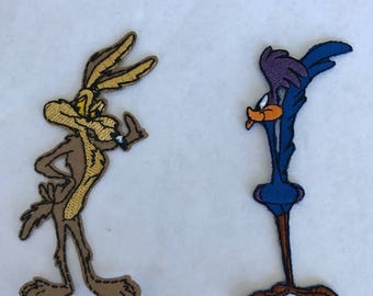 wile e coyote and roadrunner inspired iron on patch, birthday party patches