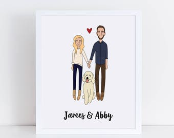 Custom Couple Portrait, Custom Family Portrait, Custom Illustration
