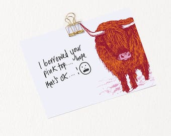 10pck Highland Cow Journal Cards / Note Cards / Index Cards / Scottish Recipe Cards