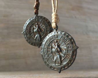Saint Christopher Necklace, Travel Gift, Leather Mens St Christopher Medal, Religious Necklace, Patron Saint of Travellers, Safe Journey