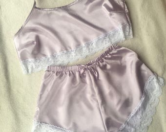 Lilac Satin Pyjamas