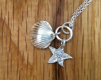 Silver Starfish and Shell pendant, Silver Starfish pendant, Silver Shell pendant, handmade silver pendant, cockle shell, starfish, handmade