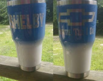 Chevy tumbler, blue and white tumbler, custom, Chevrolet tumbler, personalized, gift for her, gift for him,