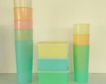 VINTAGE TUPPERWARE Pastel Wonderlier Cups, Tumblers, Square Lidded Containers, Retro