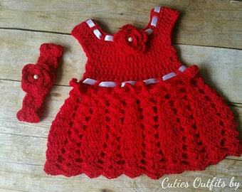 Cotton Baby Dress, Red Baby Dress, Handmade Infant Dress, 0-3 Months, Baby Girl Dress and Headband, Infant Crochet Dress, Summer Baby Dress