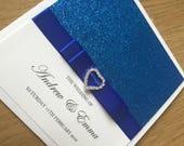 Royal Blue Glitter Wedding Invitation Pocket Wedding Invitation Diamante Heart Buckle Luxury Wedding Invitation GlamourSparkle