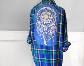 DREAM CATCHER Flannel Tee dream catcher t shirt vintage mens xl Van Huesen  flannel shirt  blue and green plaid flannel shirt