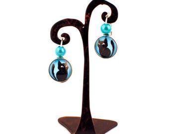 Gem - Stud Earrings - small black cat