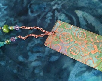 Embossed copper bookmark, hammered, beaded, teal and green, rose pattern