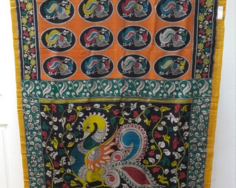 Hand Painted Pen Kalamkari Chennuri Silk Saree: Free Shipping in US