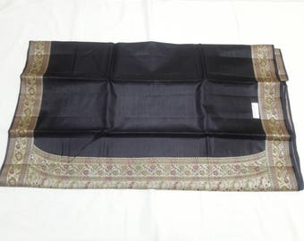 Silk Mark labelled Handwoven pure Kosa silk saree in black color: Free shipping in US