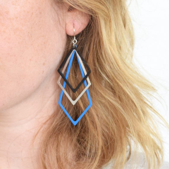 80s Style Rhombus Earrings
