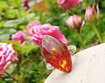 Beautiful Baltic amber ring size 9 US or 60