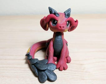 Polymer Clay Dragon - Devlin the Scrap Dragon - Cute Red Swirled Mythical Creature Fantasy Sculpture - OOAK Hand Made FREE SHIPPING
