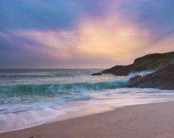 Sunset art, beach art, Ocean art, Sunset decor, Seascape photography, Wall art print, surf art, Fine art, 16x24, Pastel shade, Newquay
