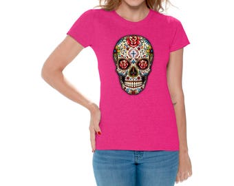 Sugar Skull Roses Shirt T shirts Tops for Women Shirts Tees Sugar Skull Shirt Red Roses Shirt Day of Dead Tshirt