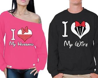 Husband Wife Couple Sweatshirt I Love My Husband I Love My Wife Matching Couple Sweaters Hubby Wifey Valentines Day Husband Gifts Wife Gifts