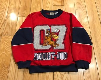 Scooby-Doo Youth size 5 Sweatshirt/Crewneck Cool graphics on the front navy blue red colorway vintage style vintage cartoons Disney Nick jr