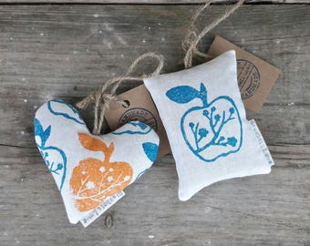 Hand printed apple lavender pouch / apple lavender sachet / cute gift / blossom lavender sachet / blossom lavender bag / gifts her her