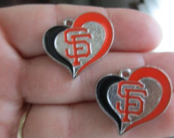Set of 2 Heart Shaped Charms inspired by San Francisco Giants