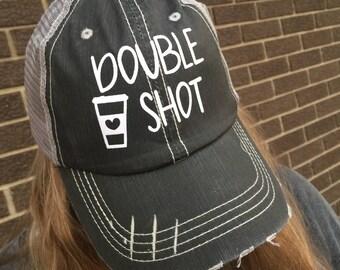 Double Shot Coffee Fan Custom Hat-Distressed Trucker Hat-NEW!