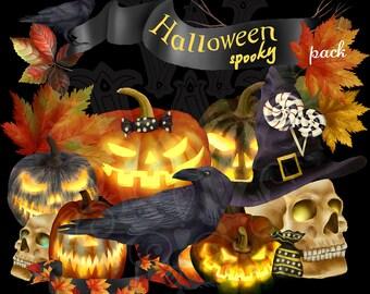 Halloween clipart, halloween clip art, skull clipart, pumpkin clipart, Jack o Lantern Clipart, Halloween candies Clipart, crow clip art