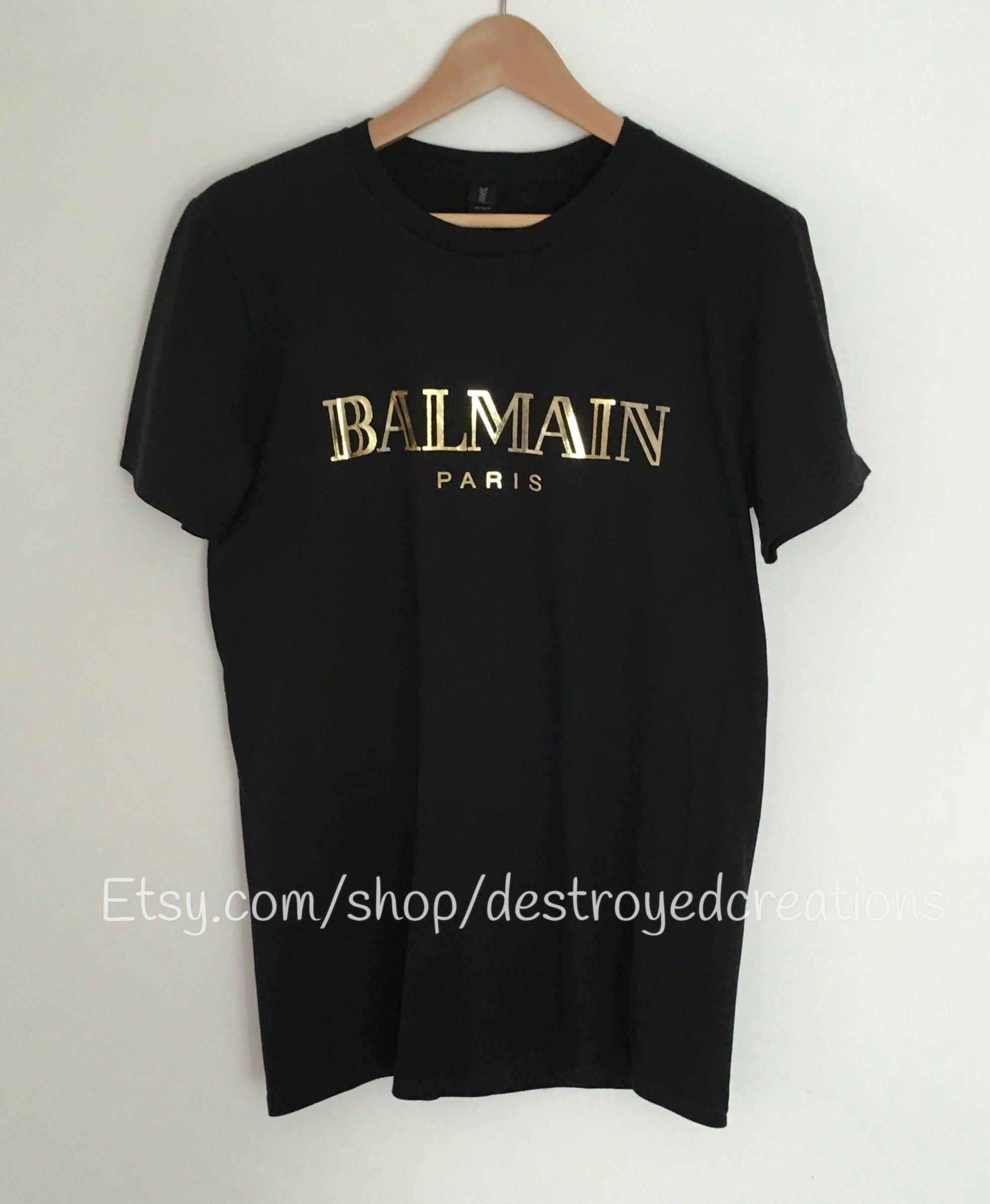 balmain paris black tee shirt gold foil balmain gucci inspired. Black Bedroom Furniture Sets. Home Design Ideas
