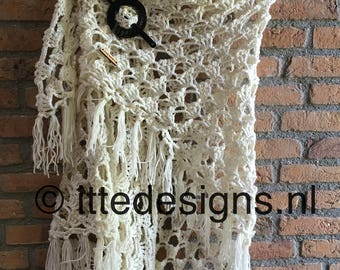 Shawl ' White Rose ' of Ships Merino soft-scarf-shawl-crochet