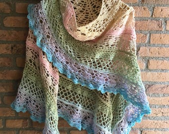 Shawl crochet with Ships ' Summer ' Whirl/scarf/shawl