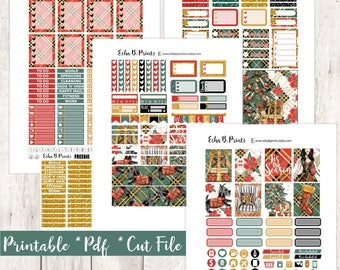 Noel Printable Planner Stickers/Weekly Kit/For Use with Erin Condren/Cutfiles Fall November Glam Plaid Glitter Christmas Shopping Presents