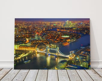 London aerial view city tower bridge Canvas Print Wall decor british picture skyline at night