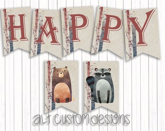 Woodland Birthday Banner - Woodland Animals Birthday Banner - Woodland Birthday Decorations - Woodland Birthday